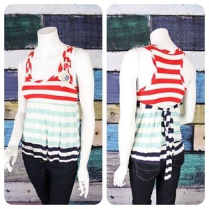 Just Ginger Striped Babydoll Tank Top